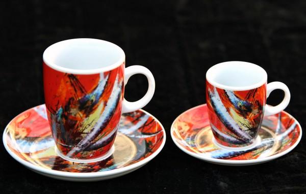 """Kaffee- oder Espressotasse """"Rote Zeichen"""""""